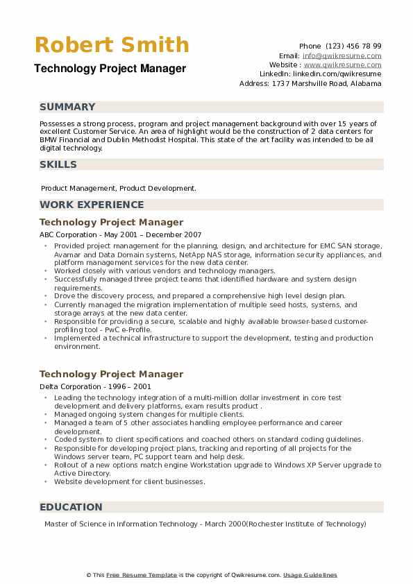 Technology Project Manager Resume example