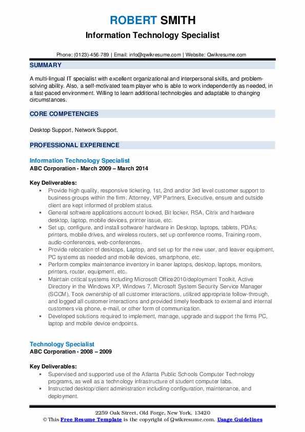 Information Technology Specialist Resume Model