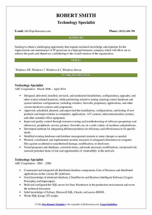 Technology Specialist Resume Format