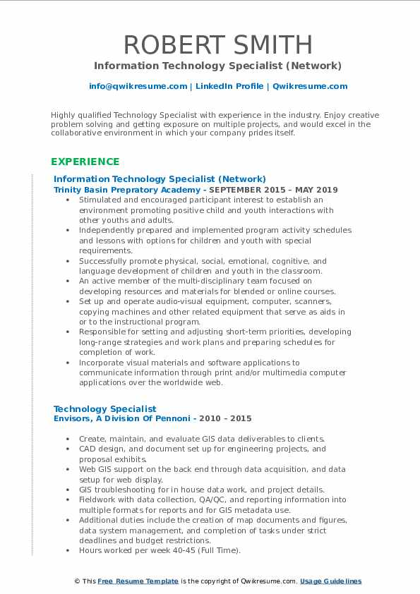 Information Technology Specialist (Network) Resume Format