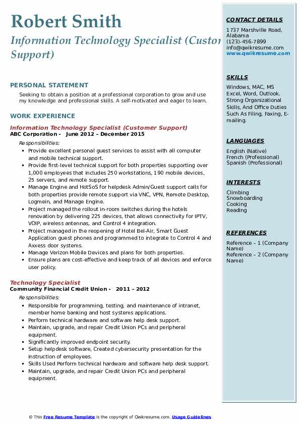 Information Technology Specialist (Customer Support) Resume Sample