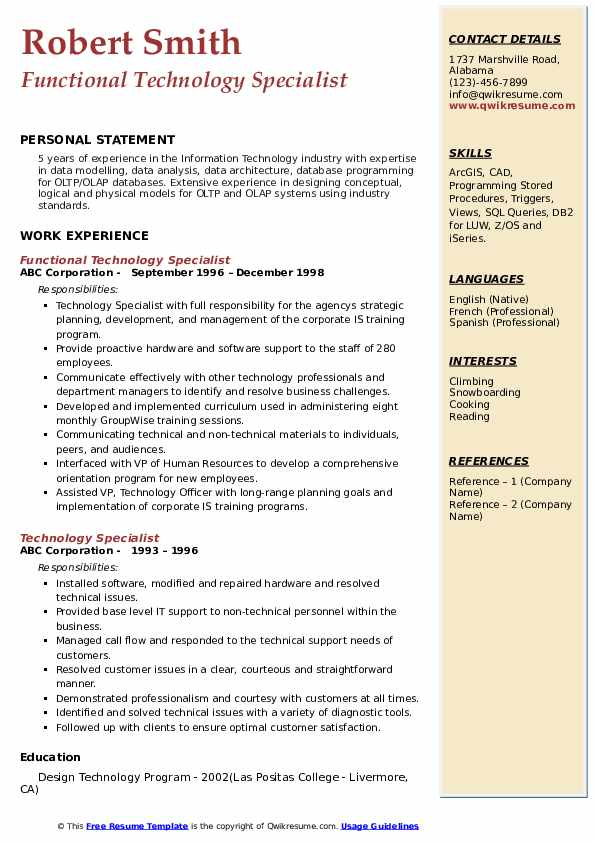 Functional Technology Specialist Resume Sample