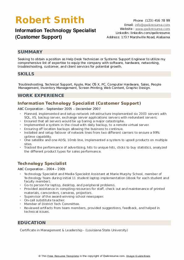 Information Technology Specialist (Customer Support) Resume Format