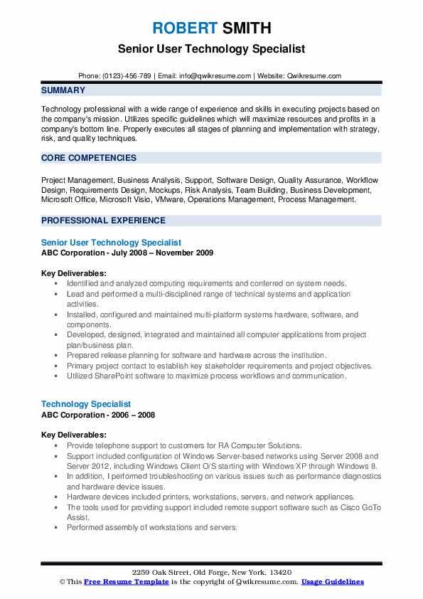 Senior User Technology Specialist Resume Model
