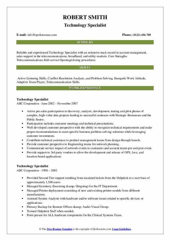 Technology Specialist Resume example