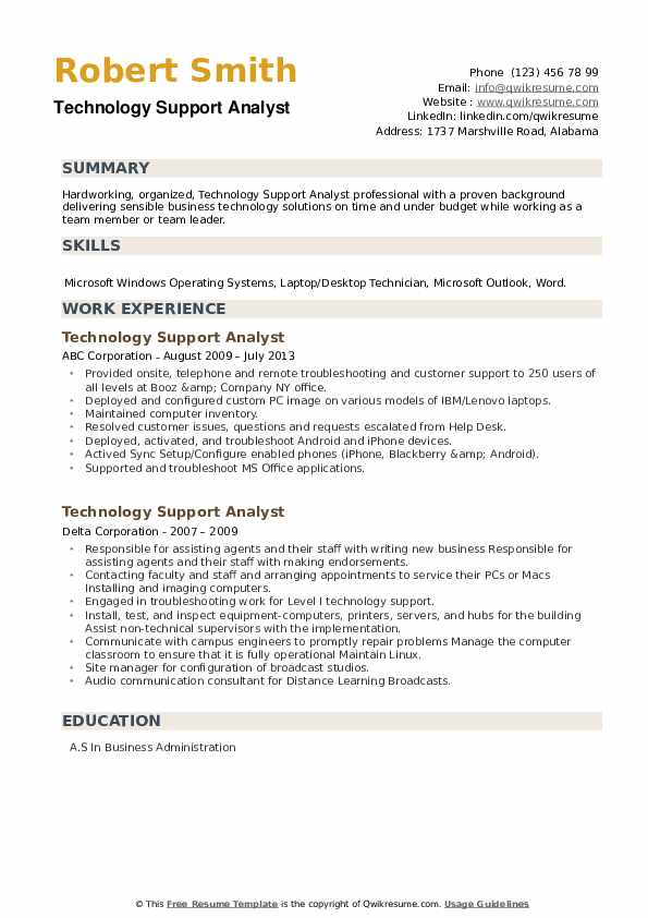 Technology Support Analyst Resume example