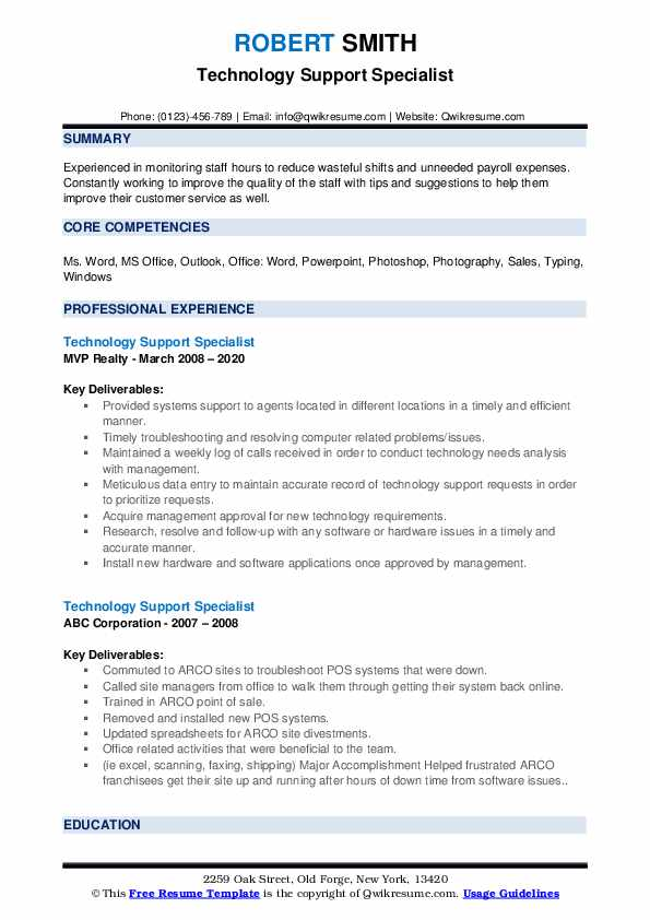 Technology Support Specialist Resume example
