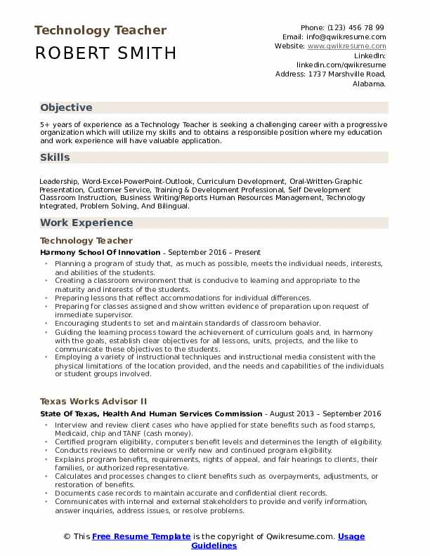 technology teacher resume samples