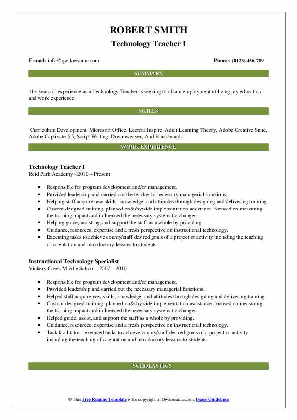 Technology Teacher I Resume Sample