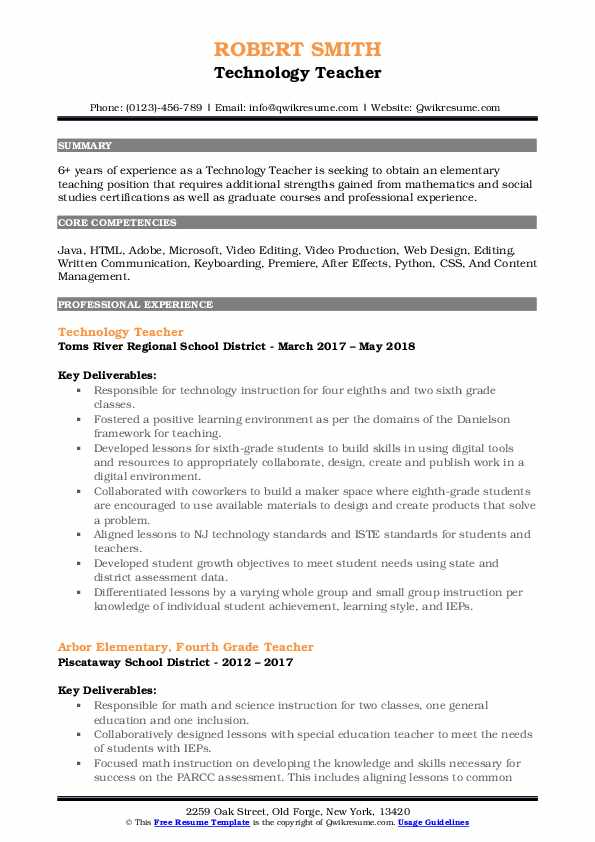 Technology Teacher Resume Samples Qwikresume