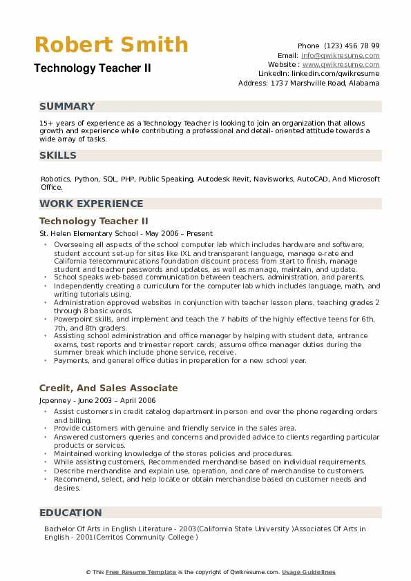 Technology Teacher Resume example