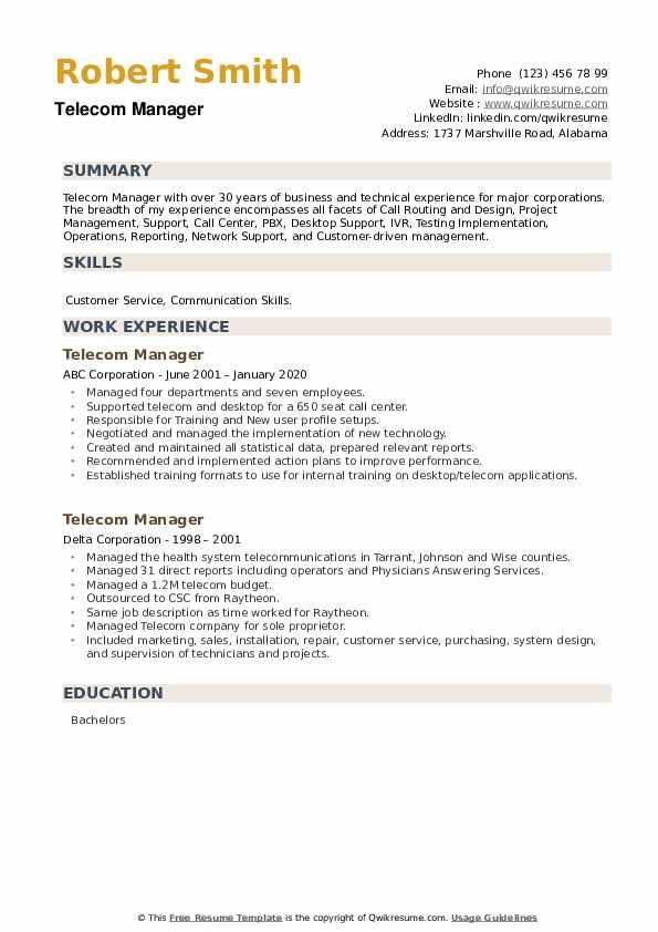 Telecom Manager Resume example