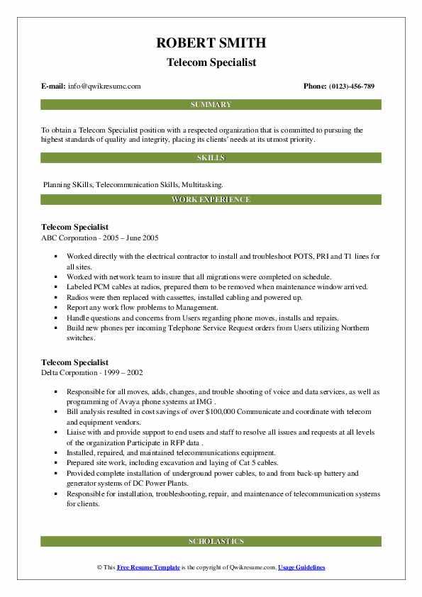 telecom specialist resume samples  qwikresume