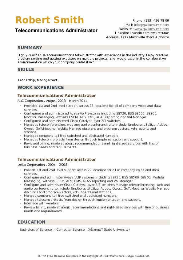 Telecommunications Administrator Resume example