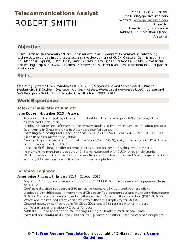 Telecommunications Analyst Resume Sample