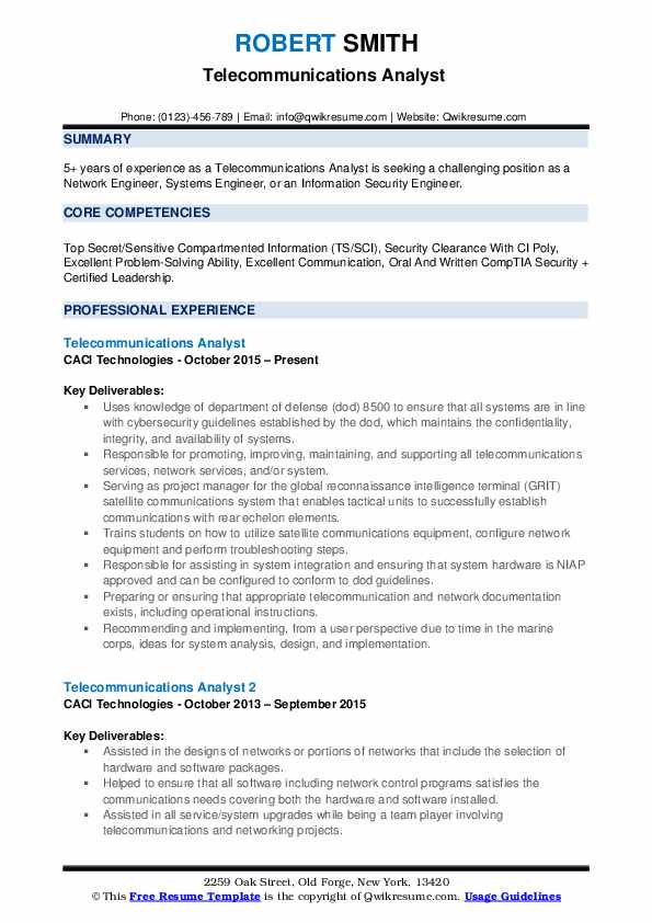 telecommunications analyst resume samples