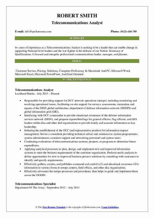Telecommunications Analyst Resume Model