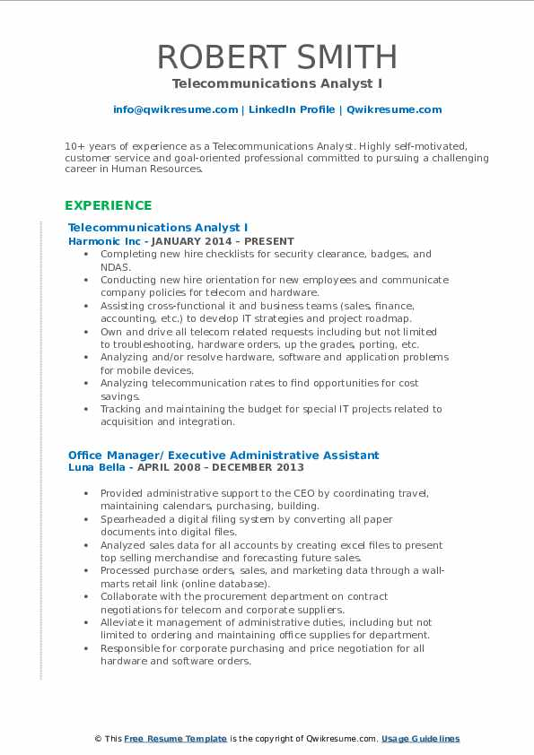 Telecommunications Analyst I Resume Template
