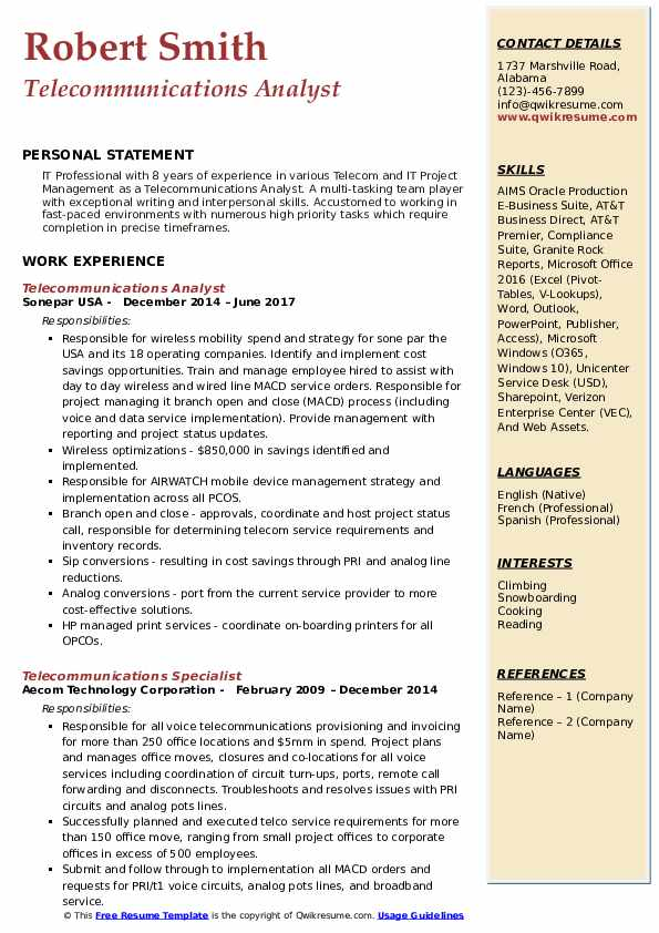 Telecommunications Analyst Resume Format