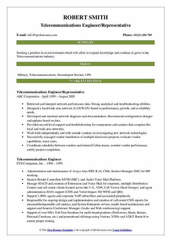 telecommunications engineer resume samples