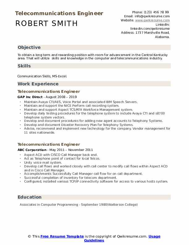 Telecommunications Engineer Resume example