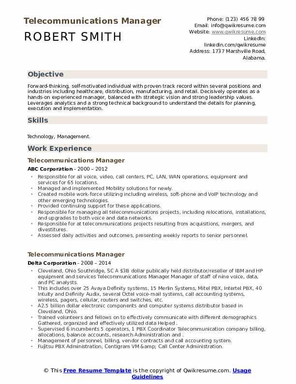 telecommunications manager resume samples  qwikresume