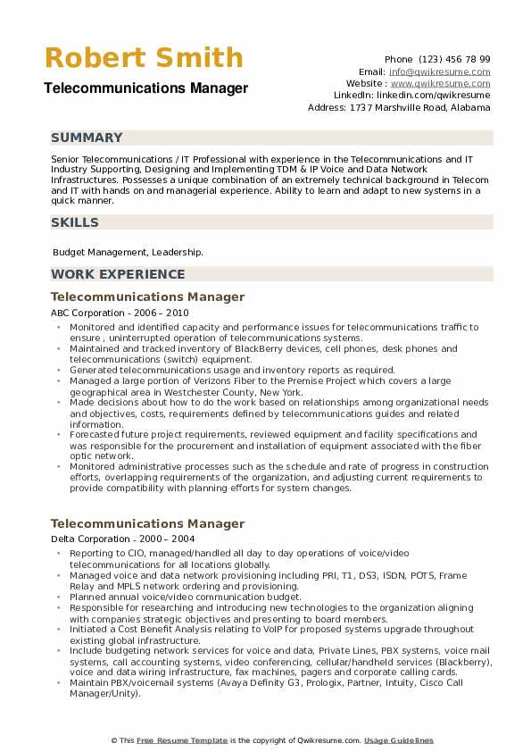 Telecommunications Manager Resume example