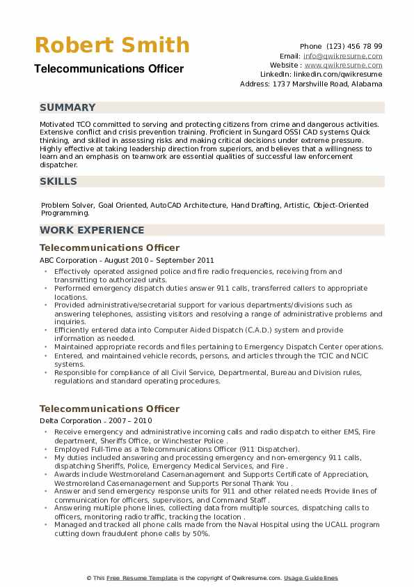 Telecommunications Officer Resume example
