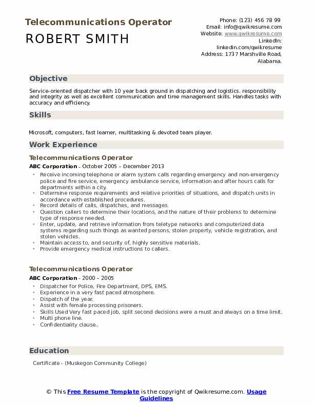 Telecommunications Operator Resume Sample