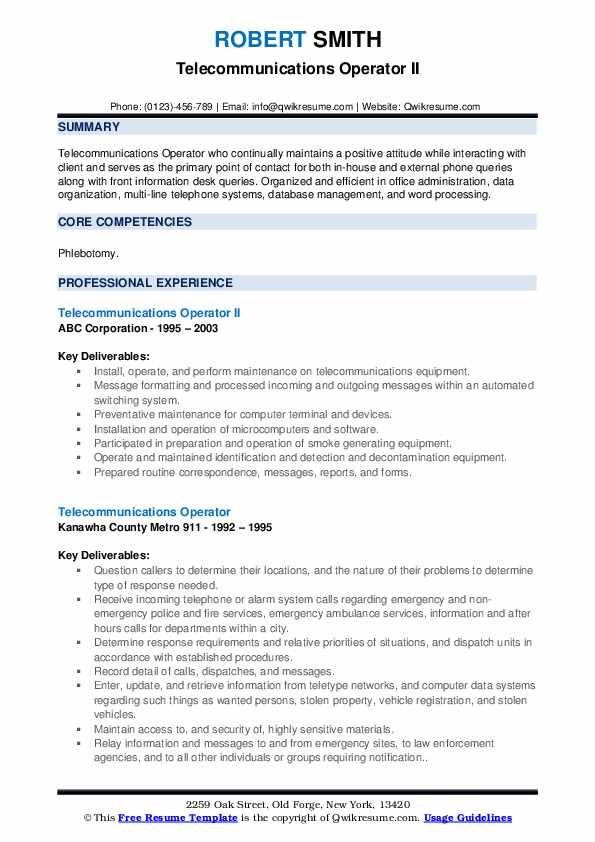 Telecommunications Operator II Resume Sample