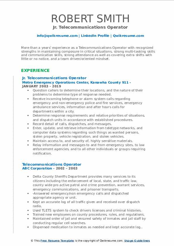 Jr. Telecommunications Operator Resume Format