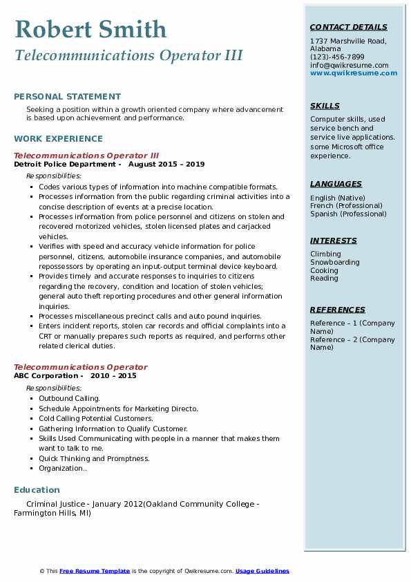 Telecommunications Operator III Resume Example