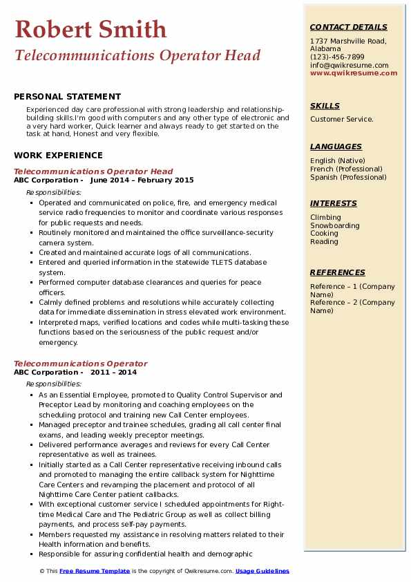 Telecommunications Operator Head Resume Format