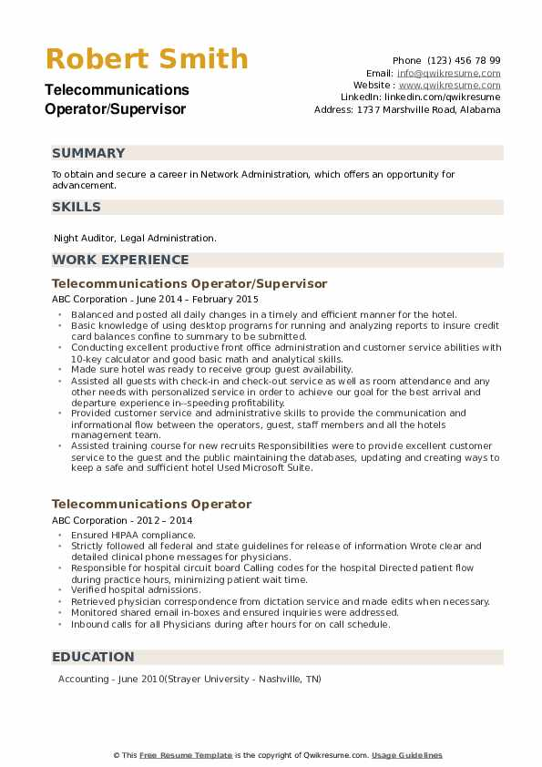 Telecommunications Operator/Supervisor Resume Sample