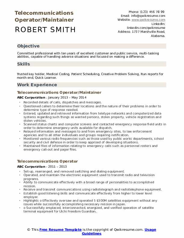 Telecommunications Operator/Maintainer Resume Template