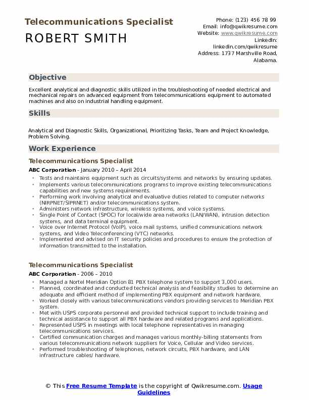 Telecommunications Specialist Resume Template