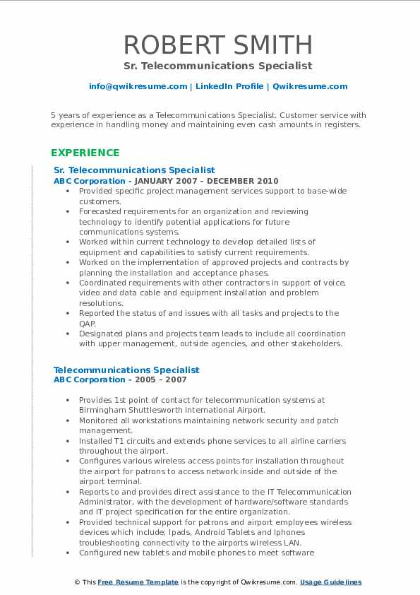 Sr. Telecommunications Specialist Resume Template