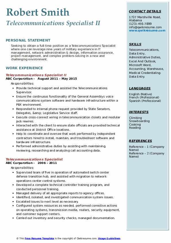 Telecommunications Specialist II Resume Sample