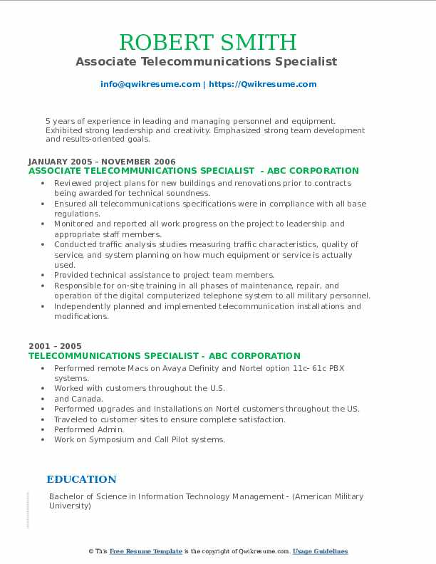 Associate Telecommunications Specialist  Resume Template