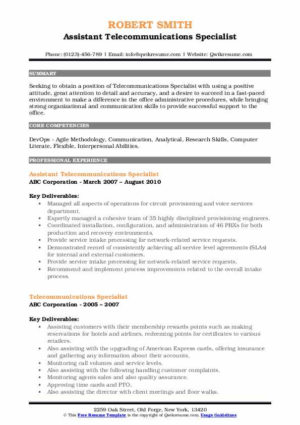 Assistant Telecommunications Specialist Resume Template