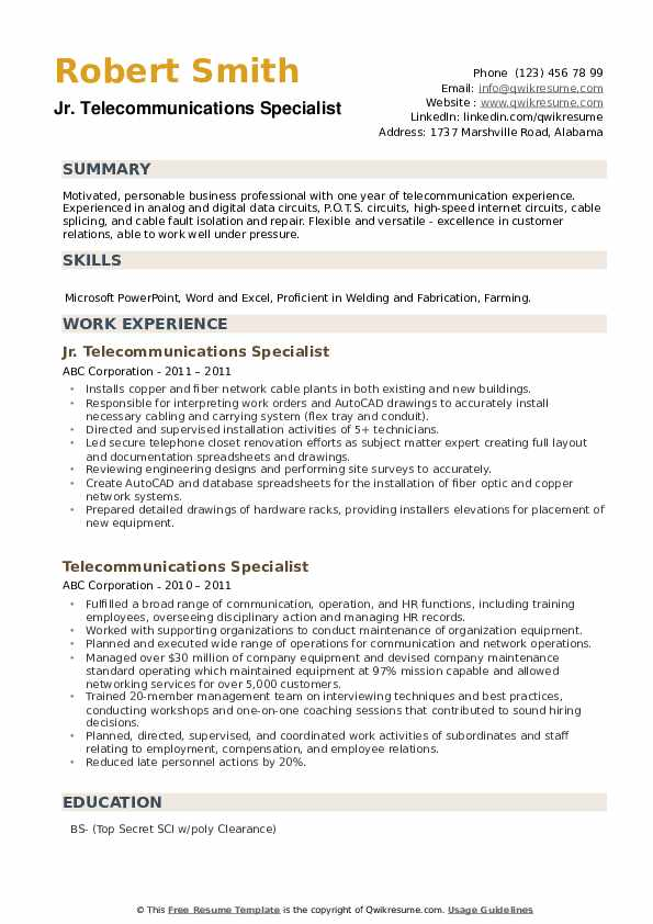 Jr. Telecommunications Specialist Resume Example