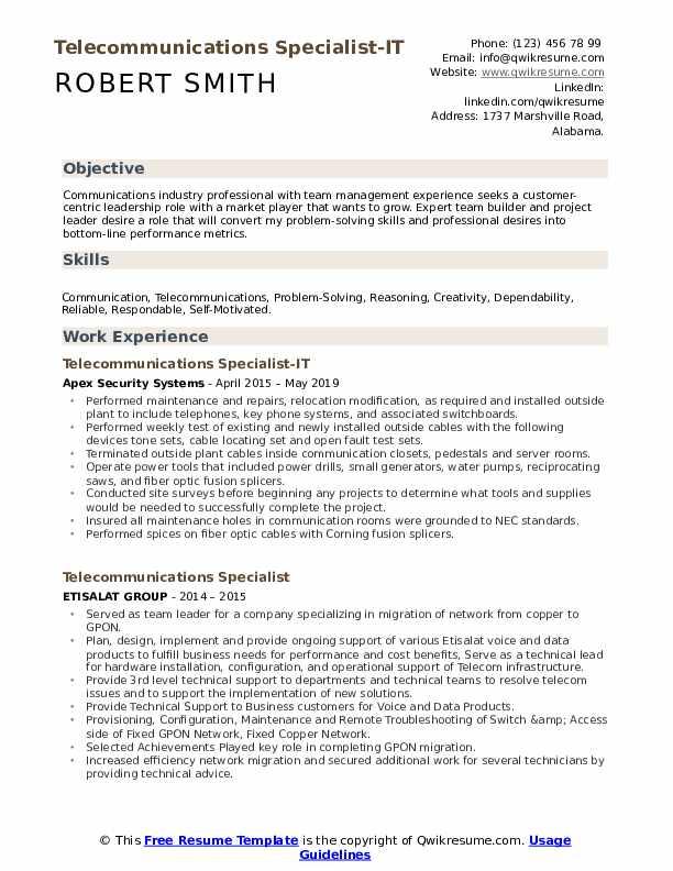 Telecommunications Specialist-IT Resume Sample
