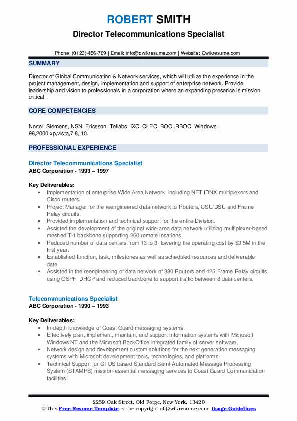 Director Telecommunications Specialist Resume Model