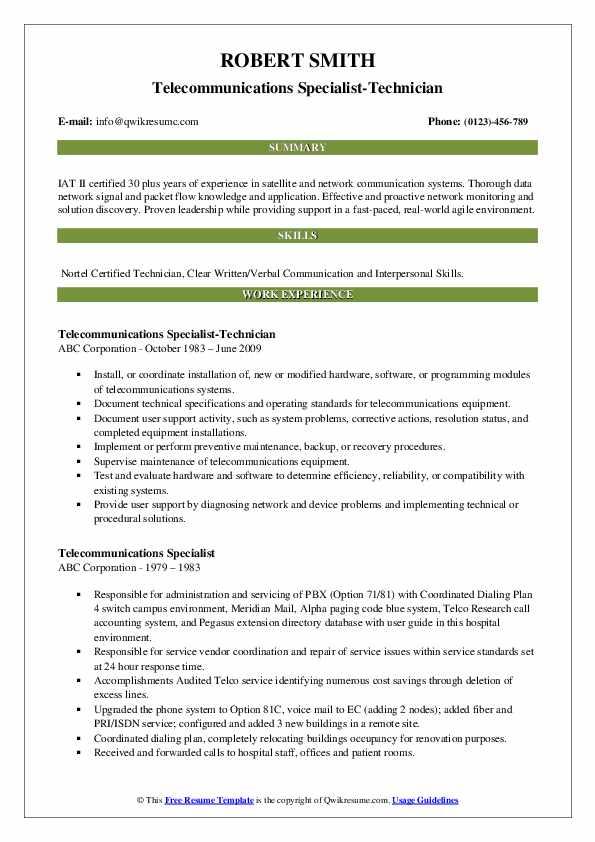 Telecommunications Specialist-Technician Resume Format