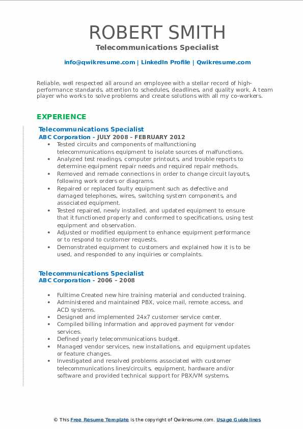 Telecommunications Specialist Resume example