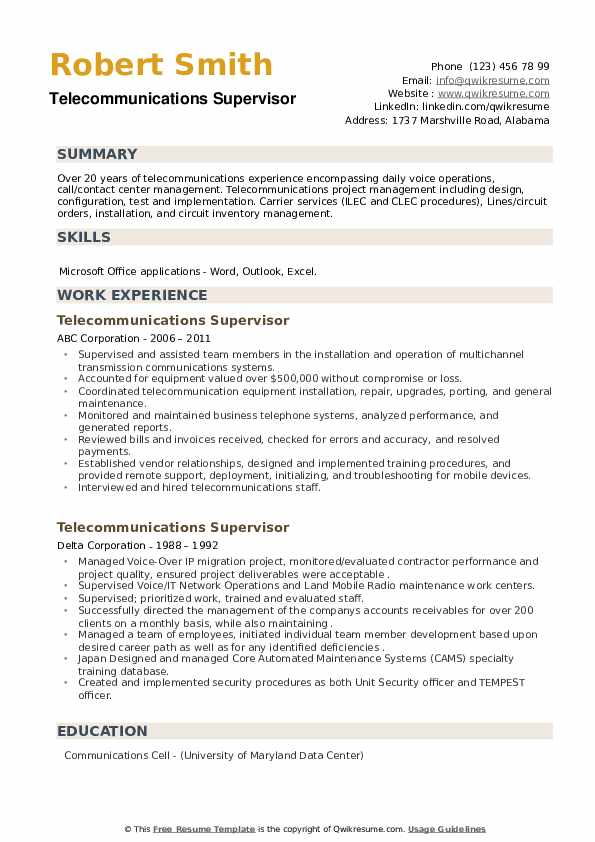 Telecommunications Supervisor Resume example