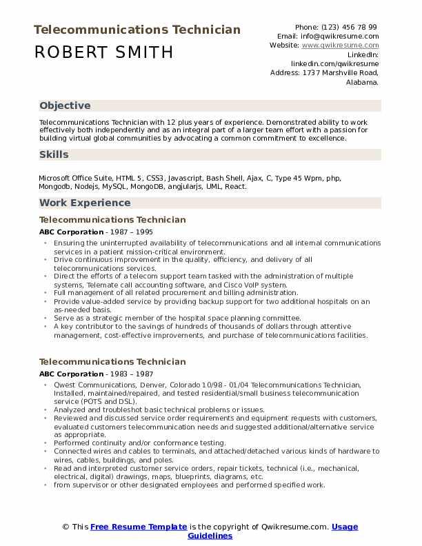 Telecommunications Technician Resume Model
