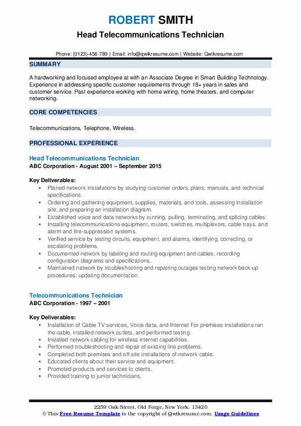 Head Telecommunications Technician Resume Model