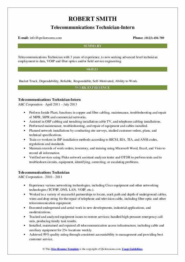 Telecommunications Technician-Intern Resume Model