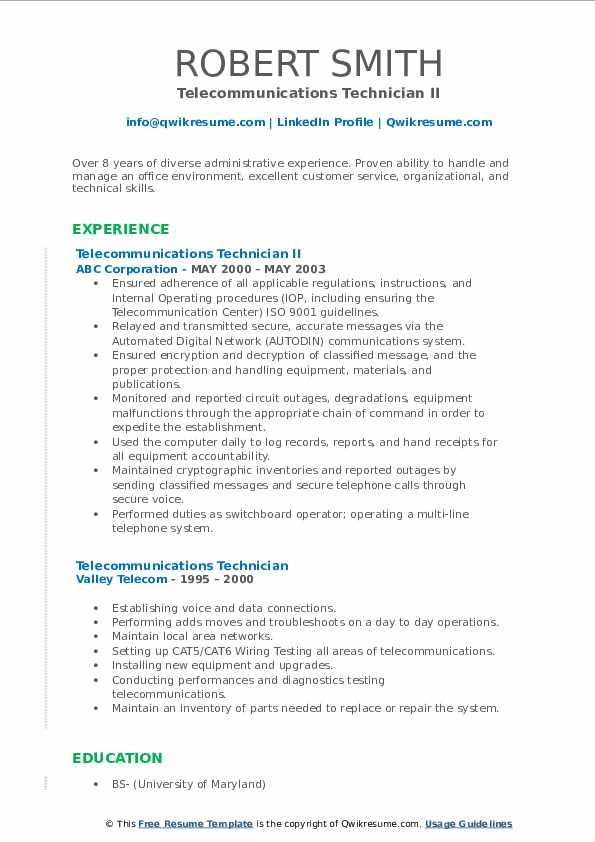 Telecommunications Technician II Resume Template